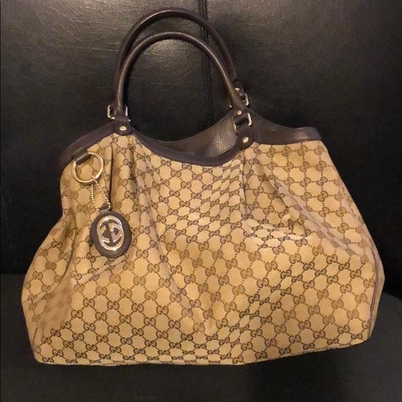 13e2a1ac0225 Gucci Bags | Authentic Large Canvas Shoulder Bag | Poshmark